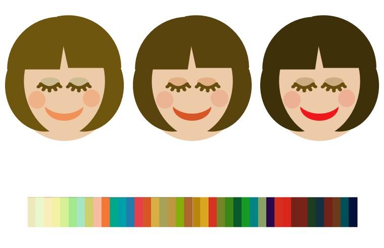 オータムのヘアメイクの色例