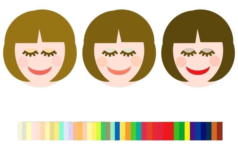 スプリングのヘアメイクの色例