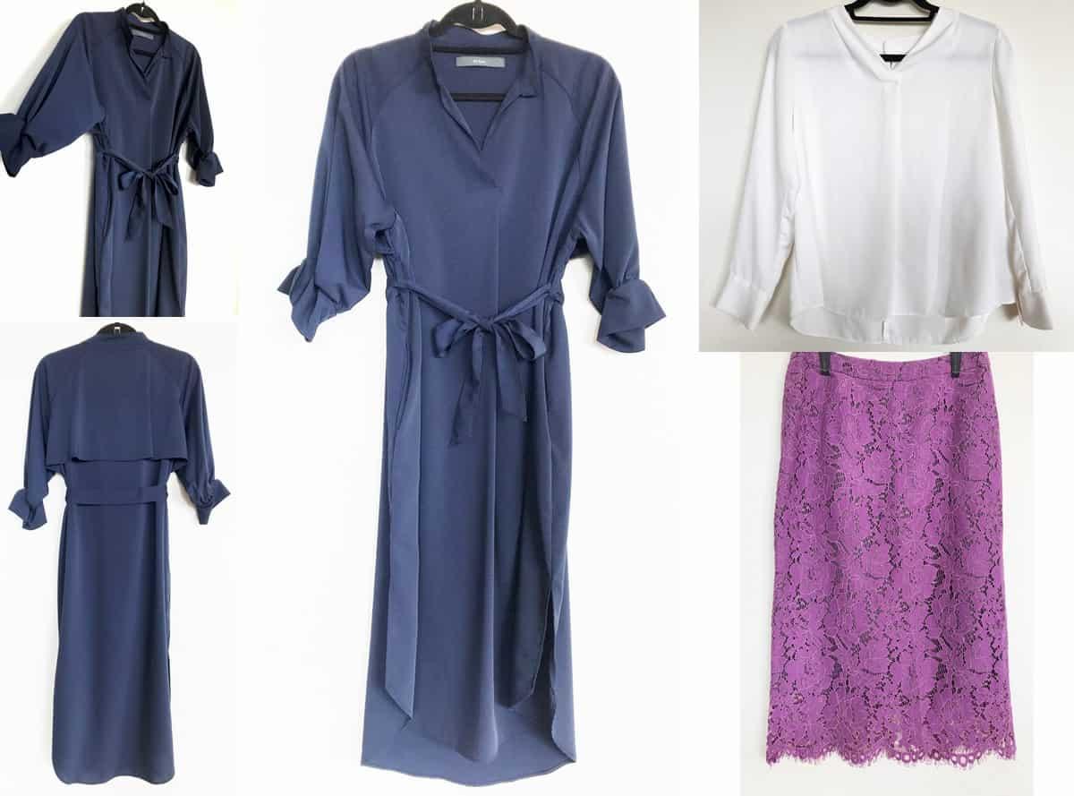 1回目のセット|紺色のワンピース・白いブラウス・紫のレースタイトスカート