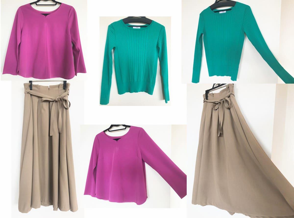2回目のセット|青味ピンクのトップス・緑のリブ編みニット・ベージュのハイウエストなフレアスカート