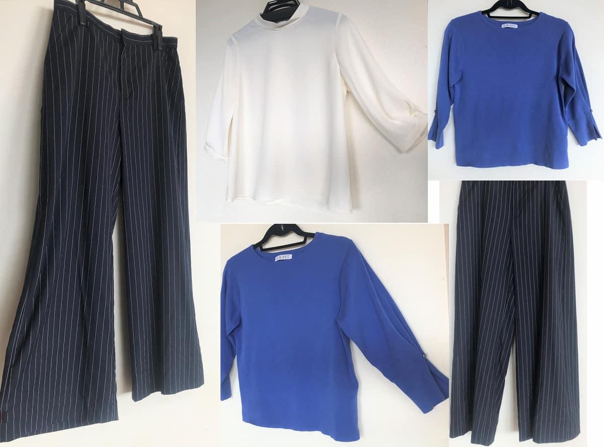 3回目のセット|真っ白のブラウス・青い七分袖ニット・ピンストライプのワイドパンツ